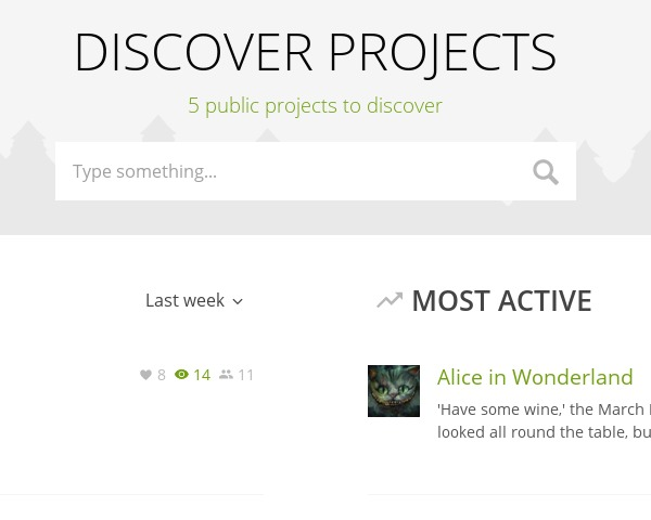 Discover public projects