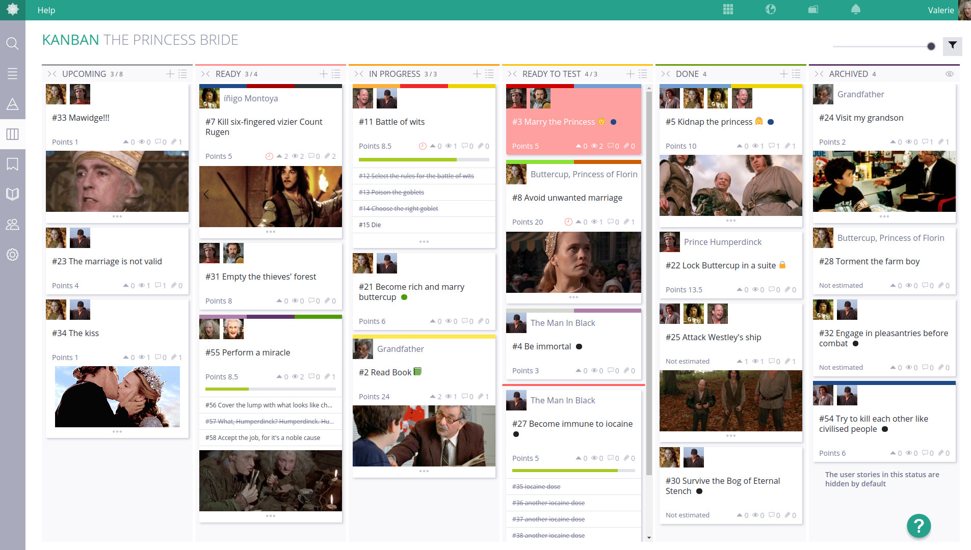 Screenshot of Taiga showing the kanban mode with several columns (upcoming, ready, in progress, ready to test, done, archived) with cards for each item with pictures from the Princess Bride.